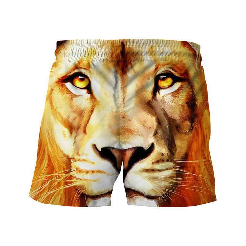 Alisister leão impressão calções de praia dos homens verão 3d animal engraçado shorts estilo tropical solto rápido seco troncos mar boardshorts