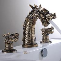 Free shipping Antique colour handles Dragon sink faucet widespread lavatory basin mixer tap 3 pcs