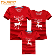 2017 New Holiday Christmas Family Matching Clothes Cute Cartoon Print Holiday Family Reunion Clothes Costume For Kids