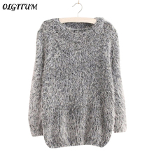 Mohair Pullover 2017 Autumn Winter Women s o Neck Sweater Women Hedging Loose Pullover Casual Sweater