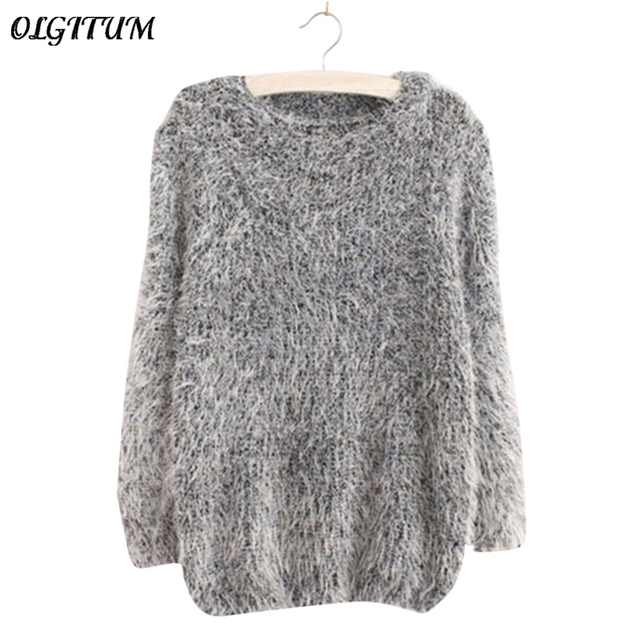 Mohair Pullover 2017 Autumn Winter Women's o-Neck Sweater Women Hedging Loose Pullover Casual Sweater Cheap Wholesale Drop Ship