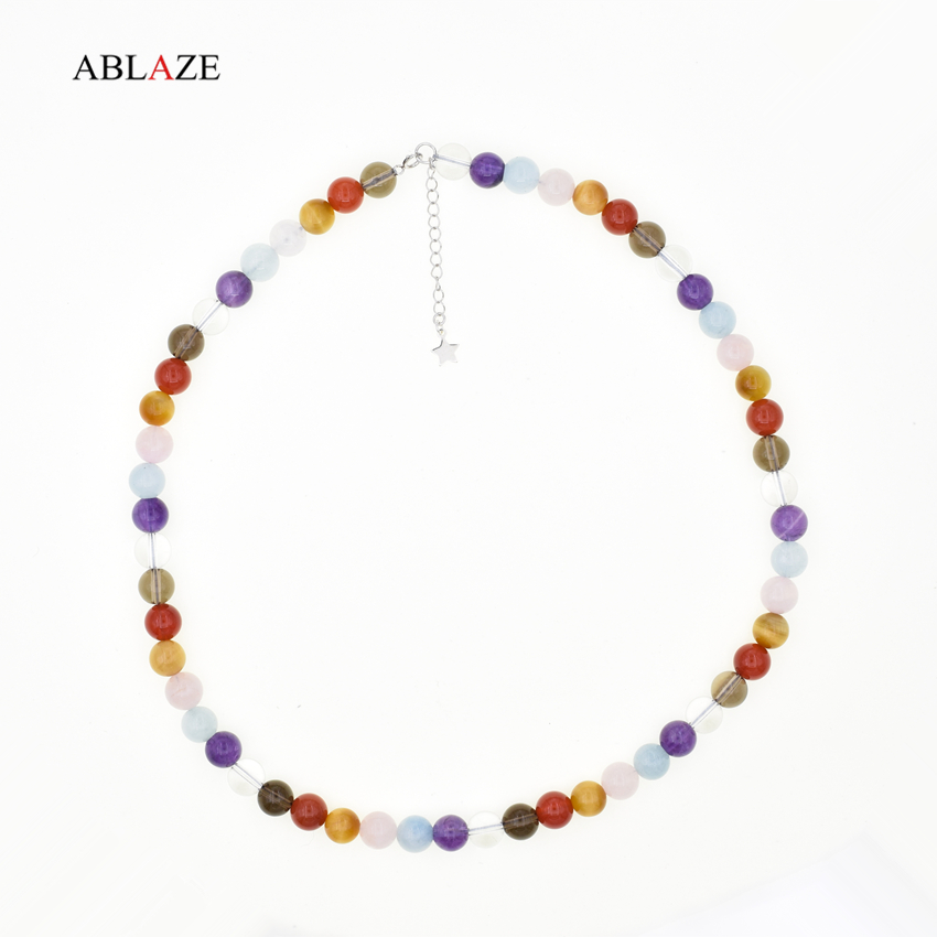 [7 Chakra] Natural Stones Beads Chokers Necklaces Tiger Eye Amethyst Aquamarine Smoky Crystal Fine Jewelry Women Amulet #D005N