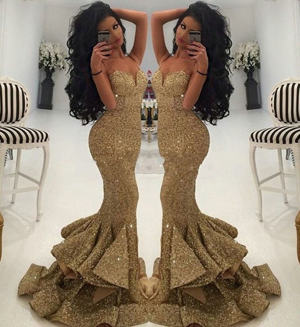 Luxurious Spaghetti Strap Gold Sequined Mermaid Prom Dresses 2017