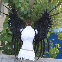 New the Customized sexy hot black Angel Feather Wings Display Party woman runway wings large props140*150cm EMS Free shipping