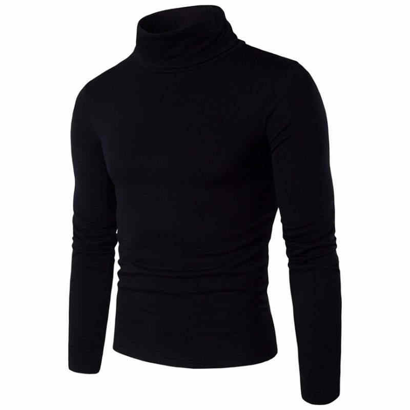 2019 New Autumn Winter Men'S Sweater Men'S Turtleneck Solid Color Casual Sweater Men's Slim Fit Brand Knitted Pullovers 2XL