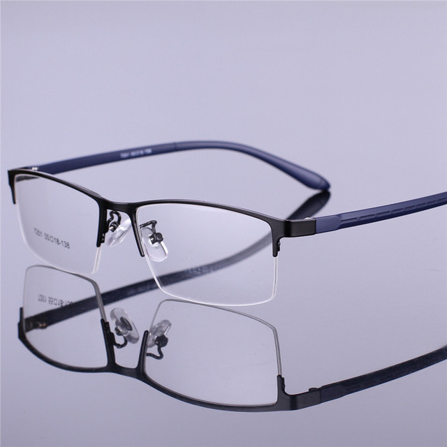 Moda armação dos óculos de metal meia óculos de armação óculos de armação homens óculos placa de metal dos homens de Negócios 7201