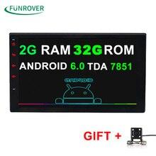 2G + 32G Universal 2 din Android 6.0 Coches reproductor de DVD GPS + Wifi + Bluetooth + Radio + Quad Core de 7 pulgadas 1024*600 pantalla coche radio estéreo FM