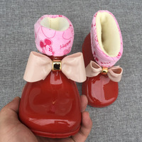 Thicker Melissa Children Bow Butterfly Pvc Shoes Girls Jelly Non Slip Water Boots Korean Princess Shoes