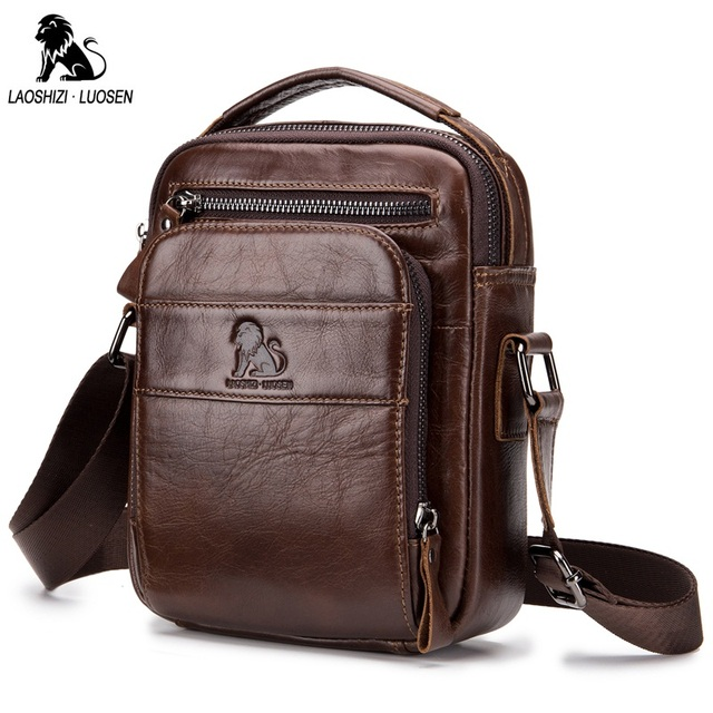 d5d74498b676 US $25.98 65% OFF|LAOSHIZI LUOSEN Genuine Leather Men Bags Handbag Vintage  Casual Travel Men's Shoulder Bag Crossbody Bags Zipper Messenger Bag on ...
