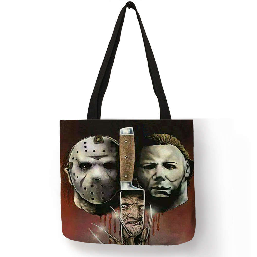 custom-horror-movie-character-murderers-print-tote-hand-bag-eco-linen-reusable-shopping-bag-casual-shoulder-bags