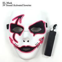 Neues design 10 Farbe optional Neon glow light EL Draht Maske Nette Lustige Maskerade Tanzparty Cosplay Maske + Sound aktiviert Stick