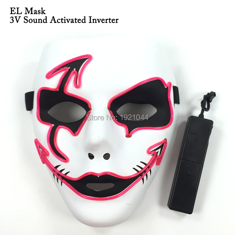 New design 10 Color optional Neon glow light EL Wire Mask Cute Funny Masquerade Dance Party Cosplay Mask+Sound activated Drive