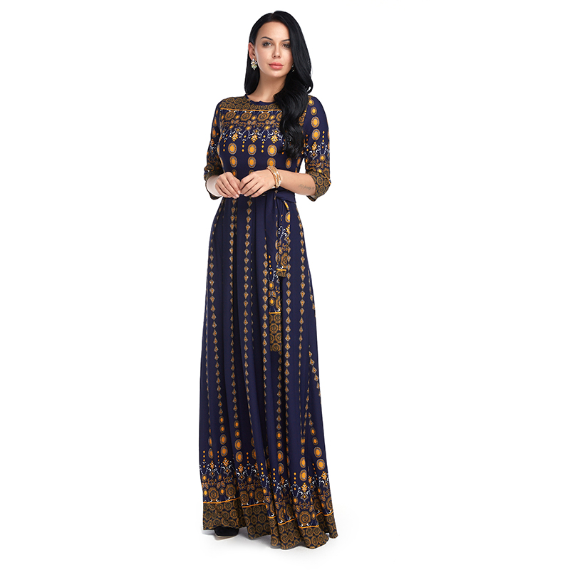 2018 Summer Vintage Women O Neck 3/4 Sleeve Floral Print Maxi Dress Casual Female Elegant Work OL Party Long Vestido