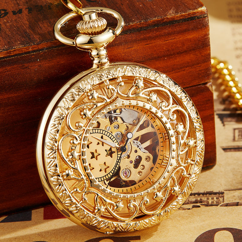 Retro Hollow Mechanical Pocket Watch With FOB Chain Gold Stars Skeleton Steampunk Vintage Mens Womens Hand Winding Pocket Watch russian vingtage silver soviet bolshevik mechanical fob pocket watch mens military pendant watch chain free ship