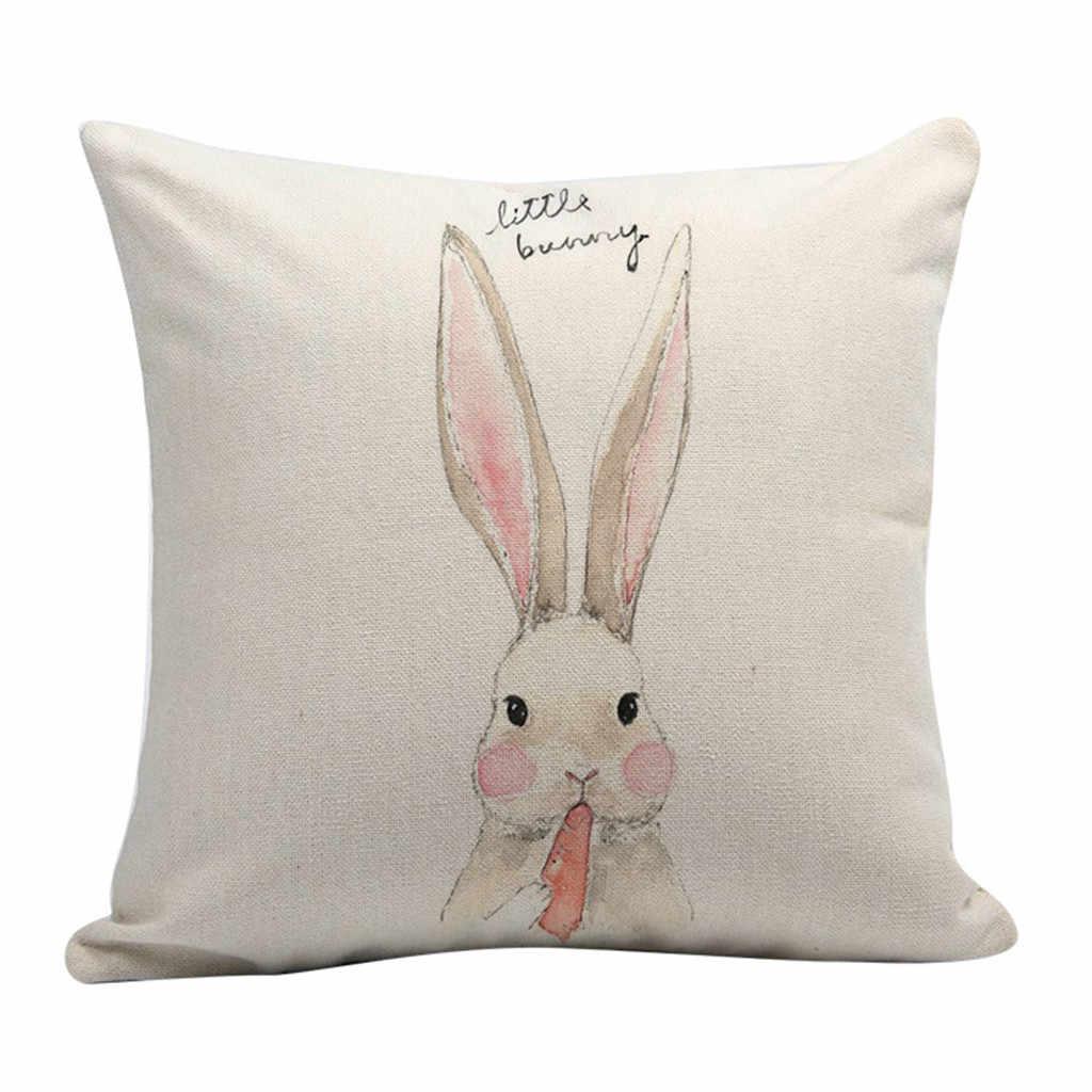 Простой диван кровать домашние подушки для украшения для стульев Праздничная наволочка pillowCover подушки белый Цвет с рисунком кролика A30304