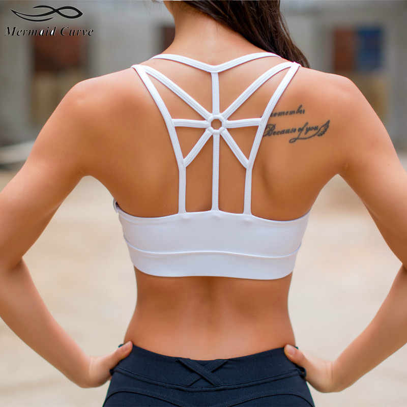 34251e04cc Mermaid Curve Sexy Back mesh shape Sports Bra for Women Running Fitness  Sport Bra Popular Hollow