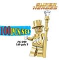100pcs/lot Mr Gold Star Wars Superhero diy figures Limited Edition Chrom Golden Building Blocks Super Avengers kids Toys Xmas