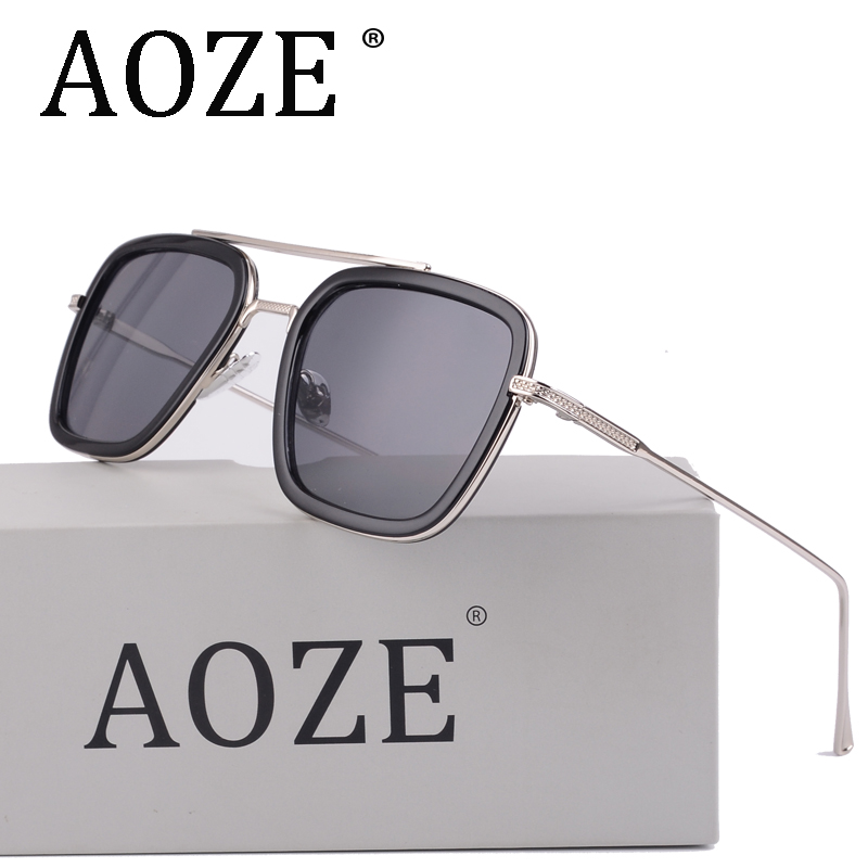 AOZE Luxury Avengers Tony Stark Flight Style Men Sunglasses Men Square Brand Design Sun Glasses Oculos Retro Male Iron Man 3