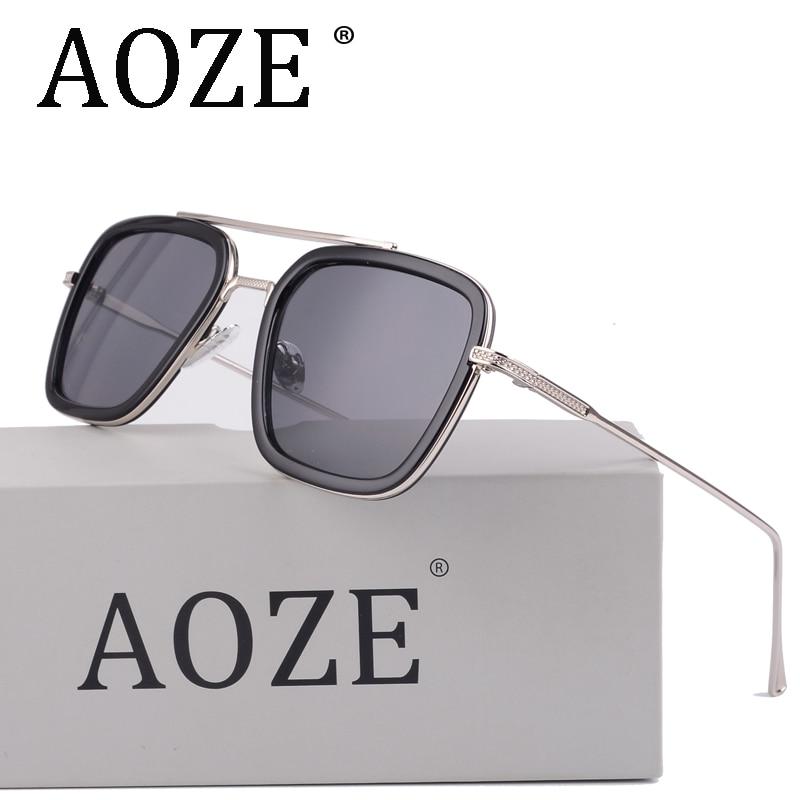 AOZE luxe Avengers Tony Stark Style de vol hommes lunettes de soleil hommes carré marque Design lunettes de soleil Oculos rétro mâle fer homme 3
