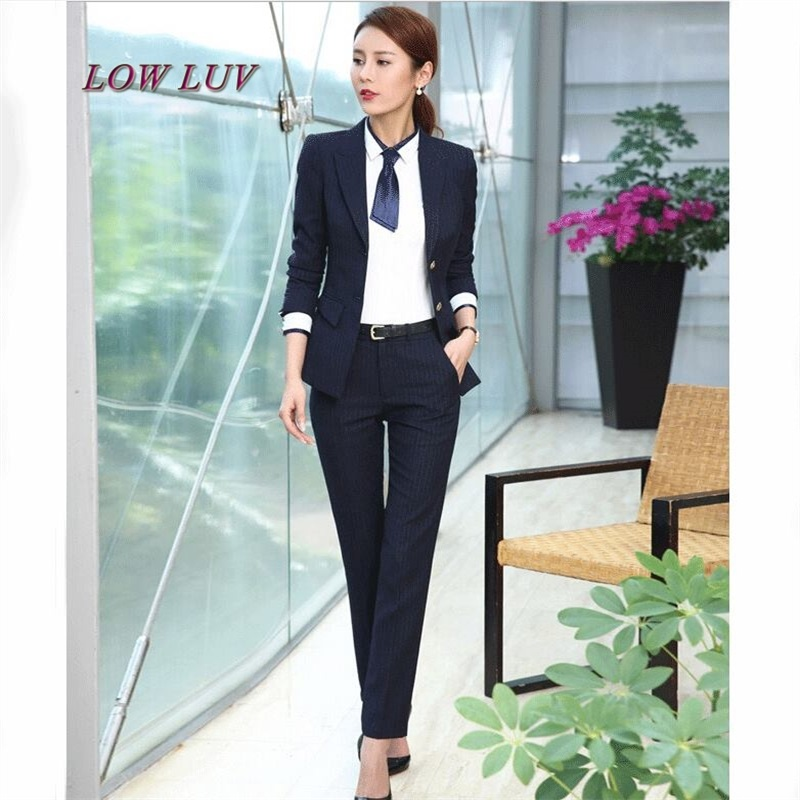 The new career suit female 2017 spring and autumn long - sleeved small suit jacket trousers casual two - piece suit  AL222