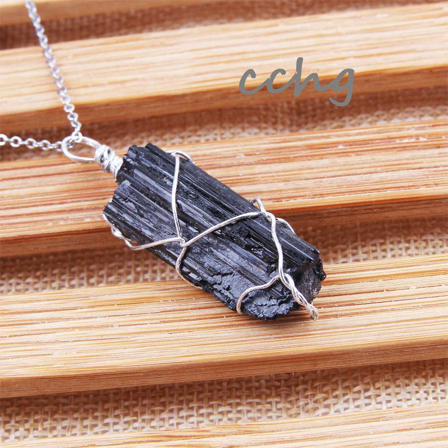 CCHGM New Silver thread Color Dipped Black Tourmaline <font><b>Pendant</b></font> Necklace <font><b>Raw</b></font> Stone Schorl Chakra Healing <font><b>Crystal</b></font> Point <font><b>Pendant</b></font> image