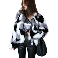 Women Faux Fox Fur Coat 2018 Autumn Winter Thick Warm Fluffy Fur Jacket Korean Fashion Mixed Color Coats Outwear Plus Size S 6XL