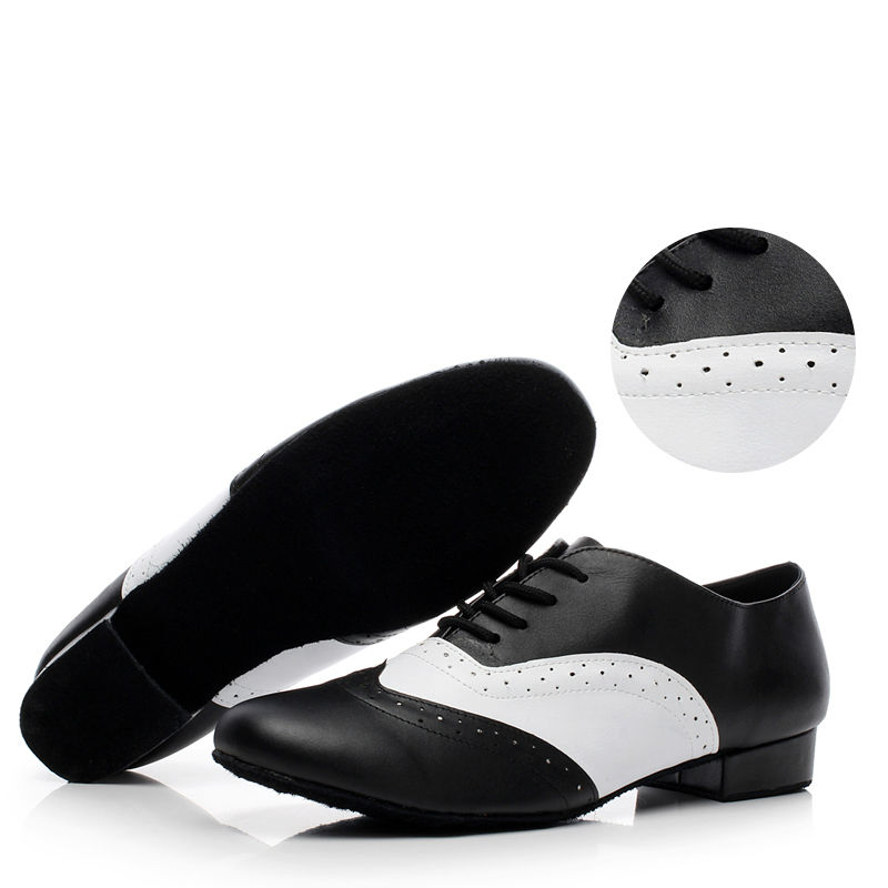 Standard Latin Dance Shoes Brand Men Sports Jazz Shoes Heel 4cm Black with White Social Dancing Sneakers Genuine leather 9010-in Dance shoes from Sports & Entertainment    1