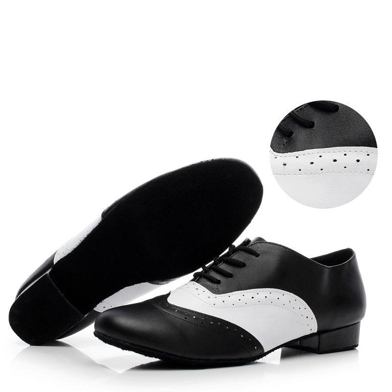 Zapatos de baile latino estándar Hombres de la marca Deportes Zapatos de jazz Tacón 4 cm Negro con blanco Zapatillas de baile social Cuero genuino 9010