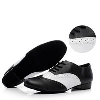 Zapatos de Baile Latino estándar Marca Hombres Deportes Jazz Zapatos de Tacón 4 cm Negro con Blanco Zapatillas de cuero Genuino de Baile Social 9010