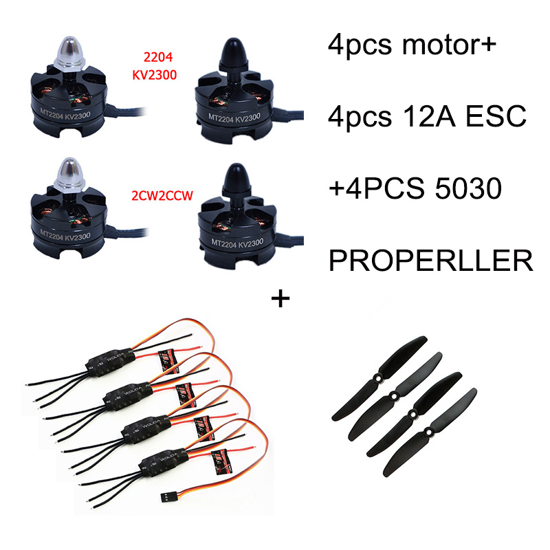 4pcs Brushless Motor 2204 2300KV CW/CCW and 4PCS 12A ESC 4pcs 5030 Propeller for Mini QAV250 Quadcopter brand quadcopter tools 5030 5x3 multirotor cw ccw propeller for quadcopter qav250