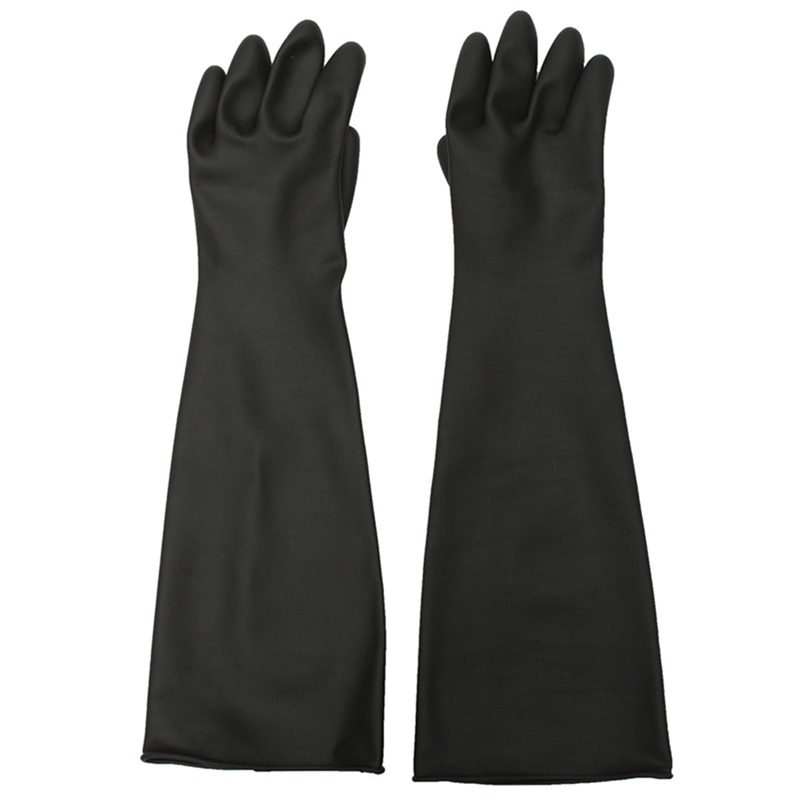 1 Pair Emulsion Chemical Resistance Industry Elbow Long Rubber Gloves Acid Chemical Midoni Security Safely Black anti acid and alkali chemical corrosion fisheries agriculture latex rubber gloves labor supplies black