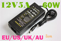 12V 5A 60W AC / DC Power Adapter Supply Charger for 3528 5050 RGB LED Strip Light + UK/US/AU/EU PLUG Cable