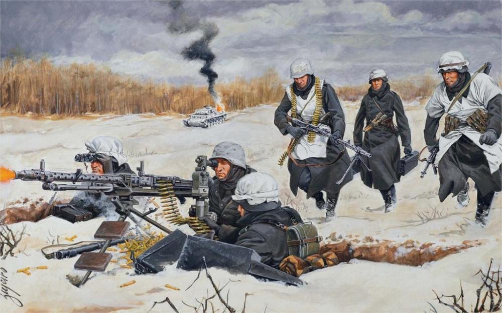US $13 89 6% OFF|Art world war 2 WW2 winter snow German soldiers machine  guns 34 mg 42 mg fire shots burning tank Home Decoration Canvas Poster-in