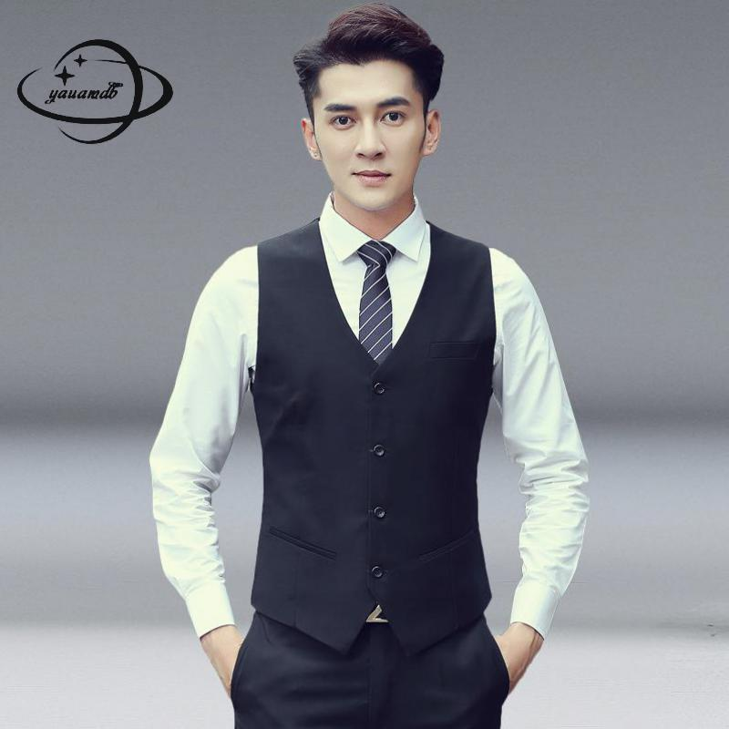 mens suits vests spring autumn male blazer Waistcoats clothing single breasted solid color suit casual man top clothes Y43(China)
