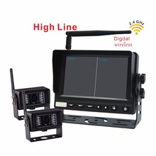 2.4G Car RearView Reversing monitor with Wireless Transmission Backup Camera for Truck, Bus (2 Pcs Digital Wireless IR Camera)