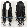 Free Shipping Fashion Long BLACK Curly Wavy Hair Wig Cosplay Wig no bang +a wig cap