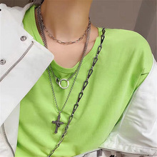 купить Japan and South Korea hip hop Rock retro Silver Man christian cross pendant necklace Cable chain sweater chain for women jewelry дешево