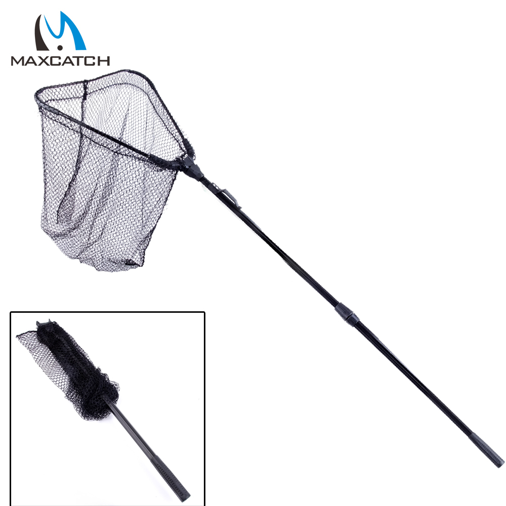 Maxcatch new folding carp fishing net landing net with for Collapsible fishing net