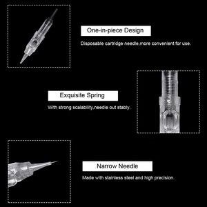 Image 4 - 50 STUKS Permanente Make Up Machine Naald Tattoo Wenkbrauw Lippen Cartridge Naalden Tips voor 600D G Agulhas Microneedle pen Gemakkelijk Klik