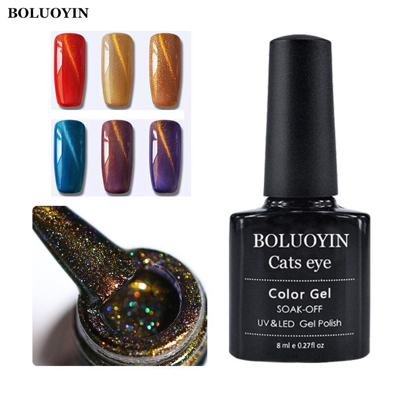 BOLUOYIN 8ML Cat Eye Gel Nail Polish Not Moving Line Semi Permanent Magnetic Varnish Lacquer Soak off