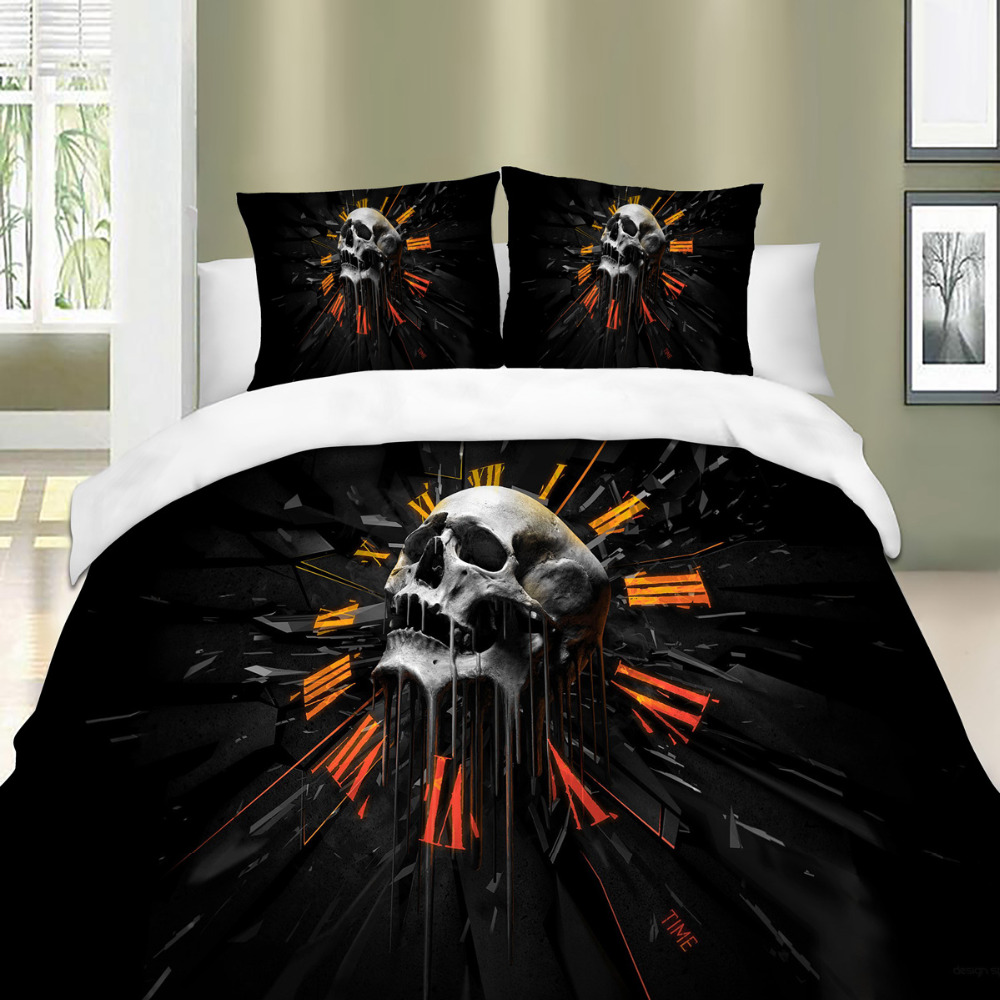 3D Dark knight Skull linens comfortable bedding sets sheet on elastic band Single Double Queen King Size Textiles