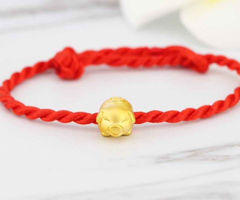 New Pure 999 Yellow gold Zodiac pig bracelet red string animal bracelet 1.1g цена