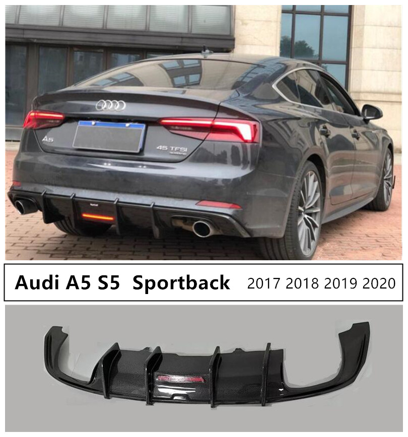 Carbon Fiber Rear Lip Spoiler For <font><b>Audi</b></font> <font><b>A5</b></font> S5 <font><b>Sportback</b></font> 2017 2018 2019 2020 High Quality Rear Bumper <font><b>Diffuser</b></font> Auto Accessories image