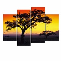 4 Panels Tree Wall Art High Definition Canvas Prints Modern Landscape Sunset Pictures To Photo Paintings