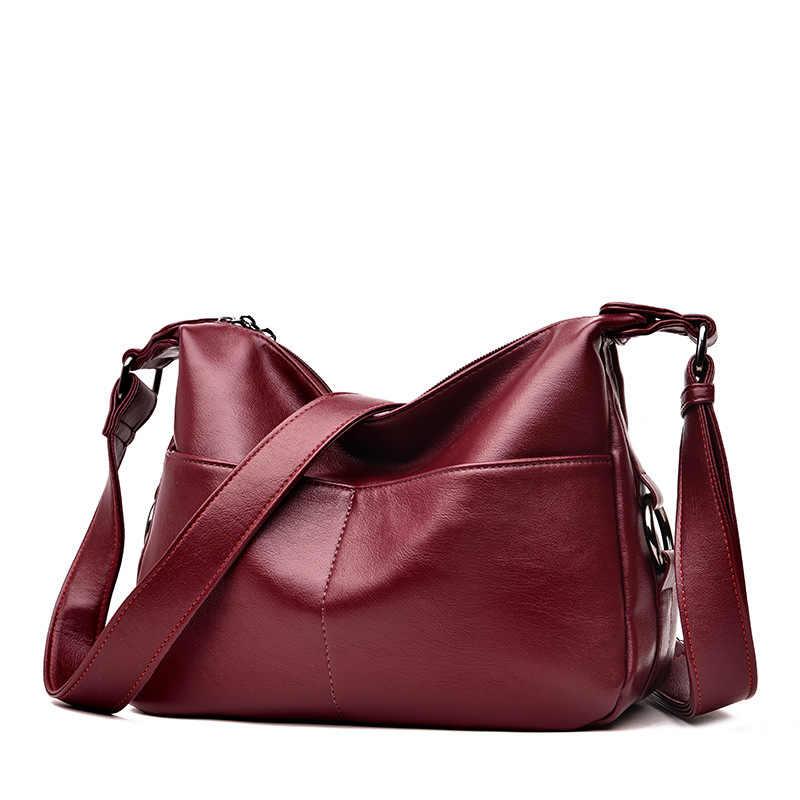 جلد البقر 2019 الأحمر النساء حقائب يد جلدية الإناث الأفاق أكياس مصمم حقائب عالية الجودة اليد حقيبة للنساء بولسا الأنثوية C855