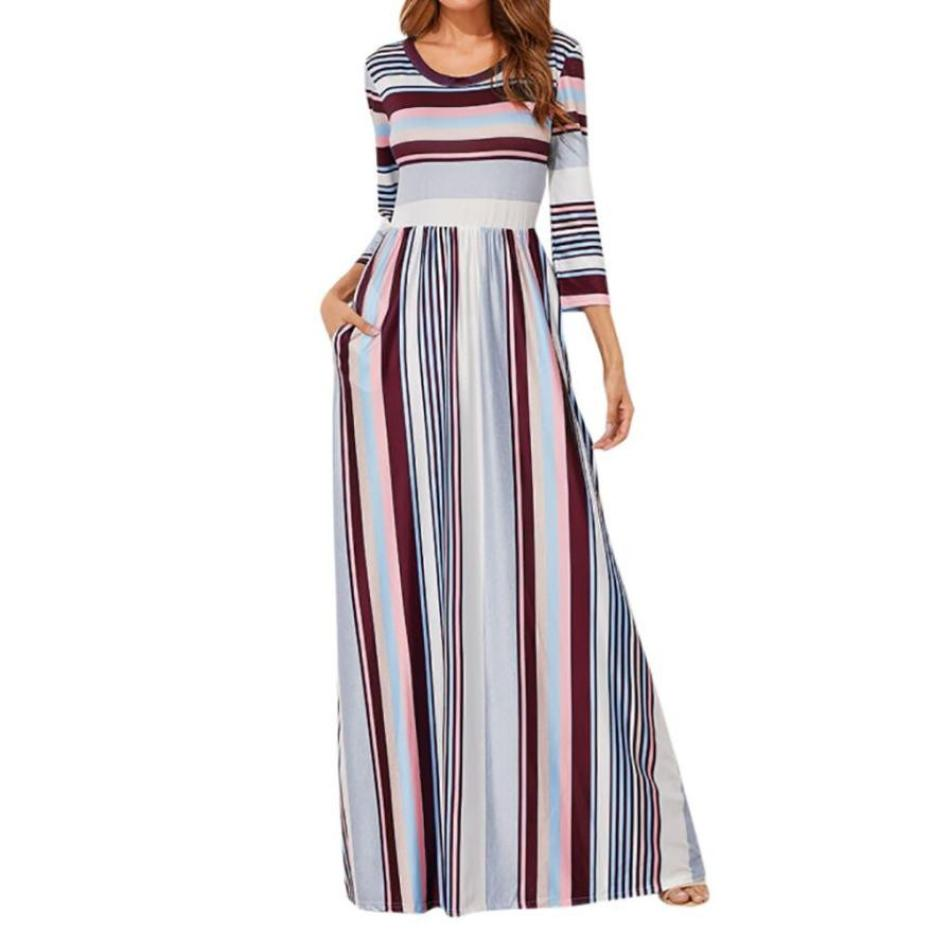Colorful Striped Maxi Long Dress Women Vintage Printed Boho Beach Sundress Lady 3/4 Sleeve Casual Party Dresses With Pockets #Ju