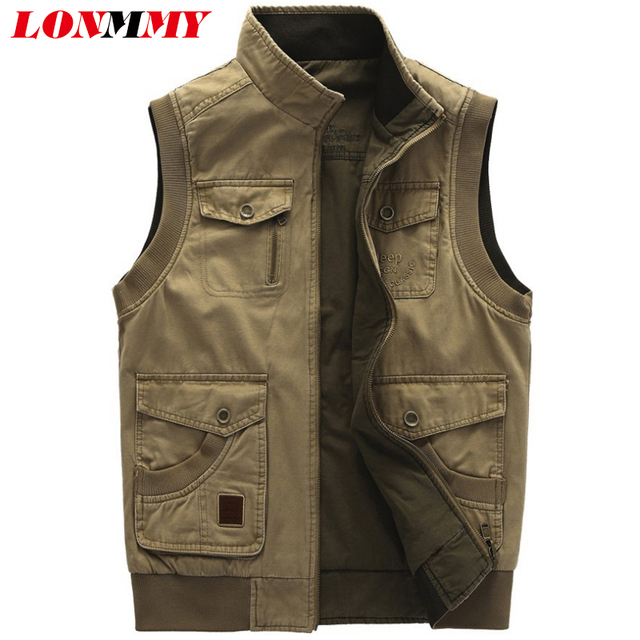 cd582a87202b6 LONMMY 5XL Military vests male with many pockets Cotton Sleeveless jacket  Vests for men Double-sided wear vest men Army green