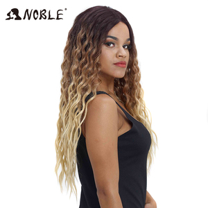 Image 2 - Noble Hair Wigs For Black Women Synthetic Lace Front Wig 28 Inch Long Curly Hair Blonde Ombre Hair Wigs Synthetic Lace Front Wig