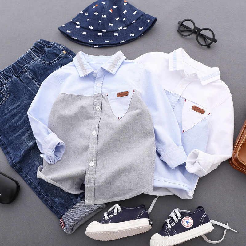 c28df297471a8c4 Модные Рубашки для мальчиков для Обувь для мальчиков весна Топы  корректирующие Осенняя детская одежда подросток верхняя