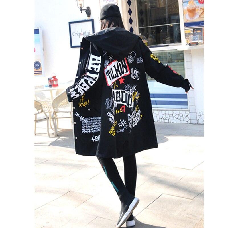 Harajuku Pardessus Long Tranchée army vent Automne De 2019 Manteau À Black Impression Green Lâche Coupe Lettre Dames Capuchon Femmes Coréenne Printemps 8gwTpTq